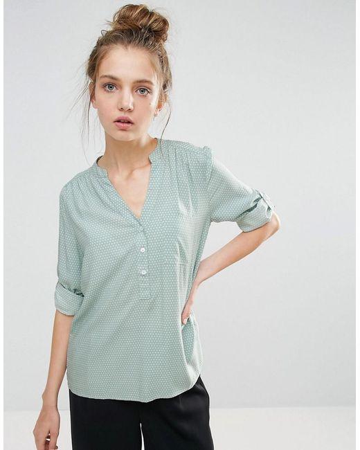 B.Young   Green Collarless 3/4 Sleeve Shirt   Lyst