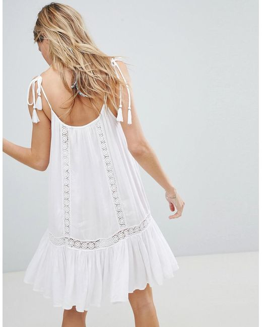 f5ee696272 ... Accessorize - White Lace Insert Strappy Beach Dress - Lyst