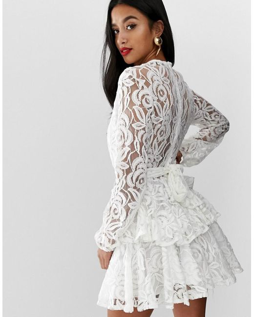 Allover Lace Plunge Front Skater Dress In White