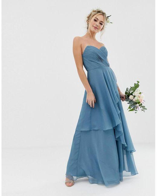 ASOS Silk Bridesmaid Maxi Bandeau Dress