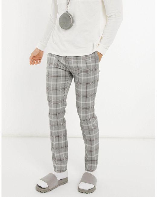 Pantaloni da abito skinny grigi a quadri di Topman in Gray da Uomo