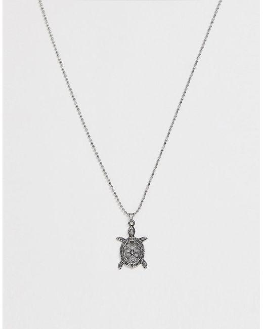 Seven London - Metallic Silberne Halskette mit Schildkrtenanhnger for Men - Lyst