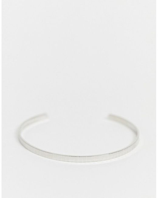 ASOS Metallic Cuff Bracelet With Line Detail In Silver Tone