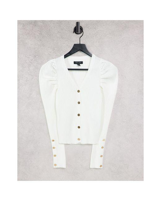 Кремовый Кардиган В Рубчик С Пышными Рукавами -белый New Look, цвет: White