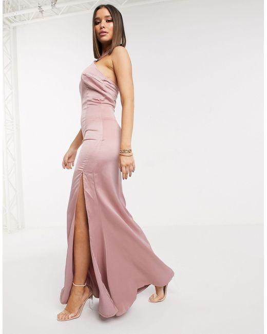 Vestito lungo accollato di Missguided in Pink