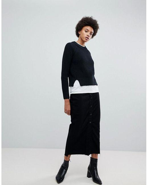 4239d2c787 Dr. Denim - Black Venla Step Hem Button From Maxi Skirt - Lyst ...