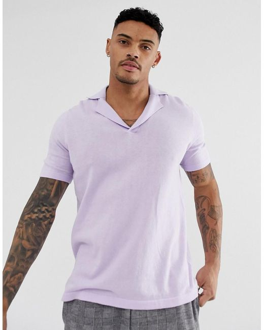 ASOS Purple Knitted Revere Polo T-shirt In Lilac for men