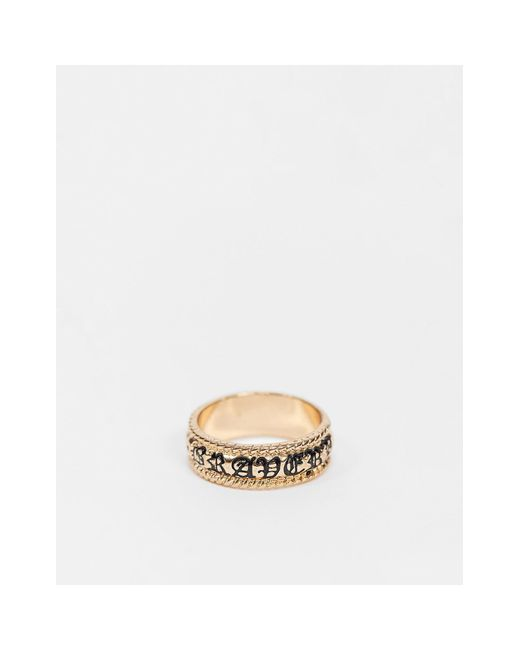Набор Колец С Защитными Позитивными Надписями -золотой Reclaimed (vintage) для него, цвет: Metallic