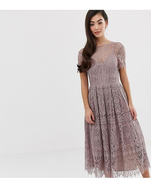 Asos Design Petite Lace Midi Dress With Ribbon Tie And Open Back