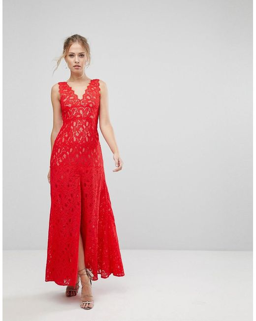 Aijek - Red Maxi Dress In Scallop Lace With Front Slit - Lyst