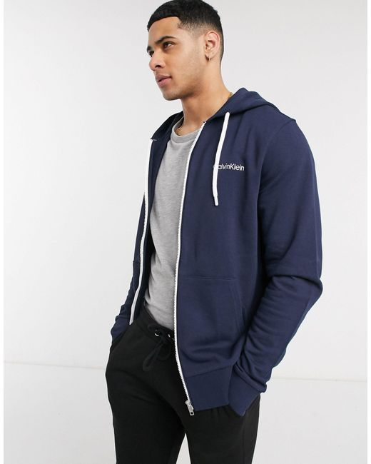 Calvin Klein Blue Logo Embroidery Zip-thru Hoody for men