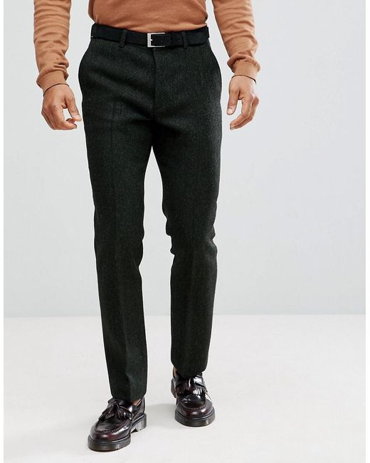 ASOS - Slim Suit Trousers In 100% Wool Harris Tweed In Green Herringbone  for Men ...