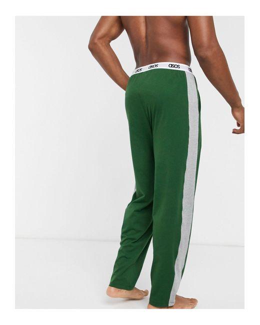 Пижамные Брюки Цвета Хаки С Серыми Вставками По Бокам ASOS для него, цвет: Green