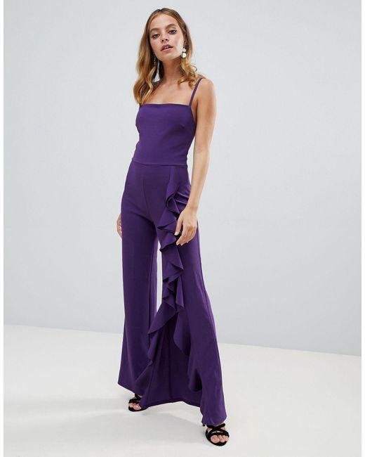 Комбинезон С Широкими Штанинами И Оборками -фиолетовый John Zack, цвет: Purple