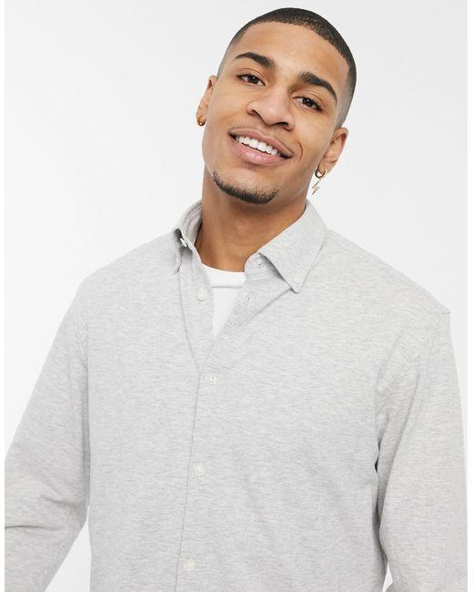 Серая Трикотажная Рубашка -серый SELECTED для него, цвет: Gray