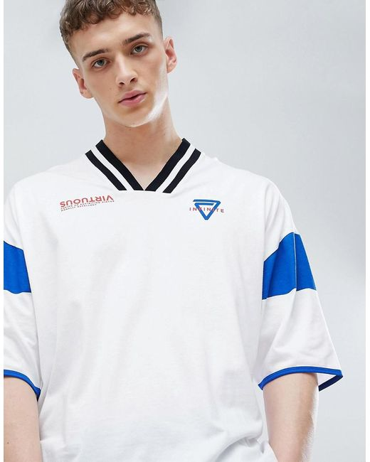 ASOS - White Oversized T-shirt With Tipped V Neck And Print for Men - Lyst