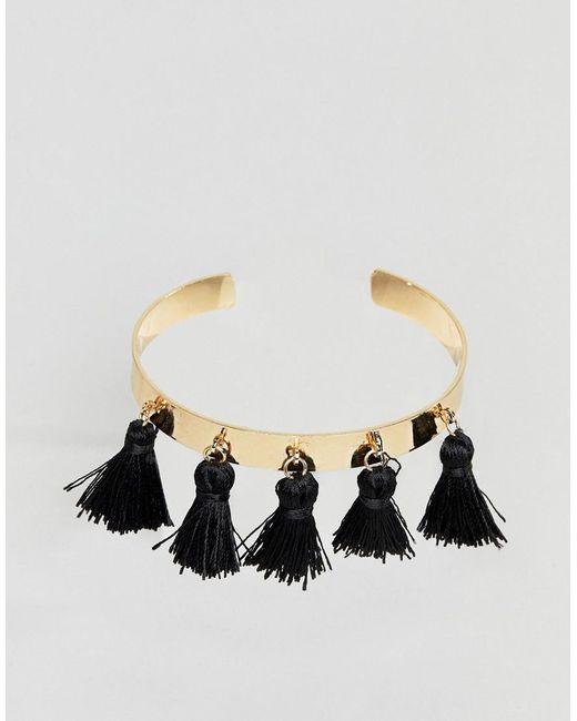 ASOS DESIGN - Metallic Tassel Cuff Bracelet - Lyst