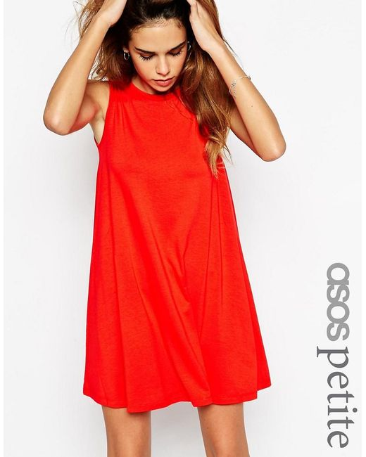 ASOS | Red Petite Sleeveless Swing Dress | Lyst