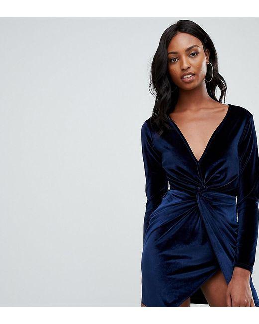 Missguided Tall - Fluwelen Mini-jurk Met Overslag In Marineblauw in het Blue