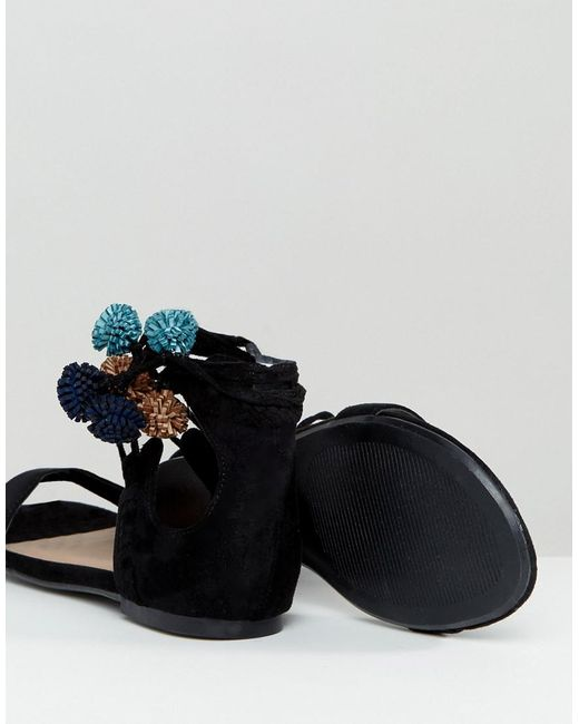 Cheap Usa Stockist With Credit Card Call It Spring Mckeague Lace Up Pom Pom Sandals - Black Call It Spring Cheap Professional yDFQld