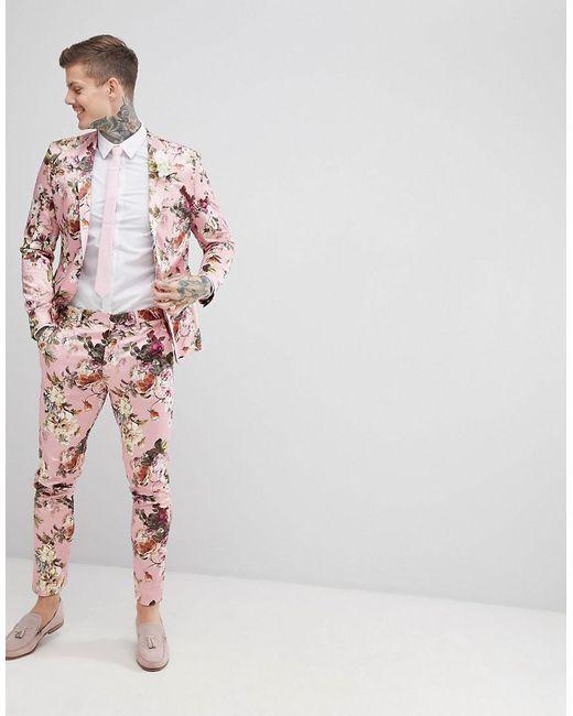 Pantalon De Costume Maigre De Mariage En Imprimé Floral Blush - Satins Asos Rose j15KF