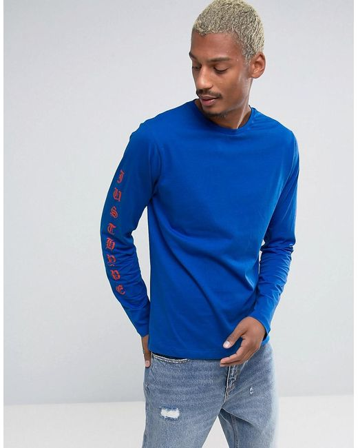 Lyst hype long sleeve t shirt with arm print in blue for men for Shirts for men with long arms