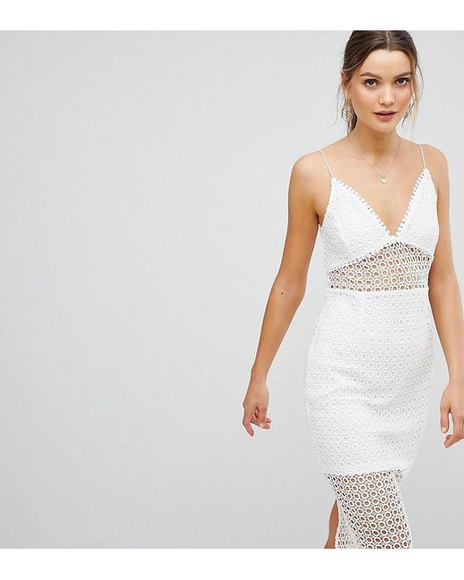 PRETTYLITTLETHING - White Lace Insert Cami Strap Midi Dress - Lyst
