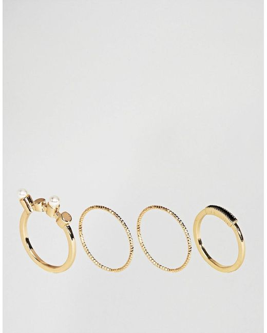 ASOS | Metallic Pack Of 4 Stone And Pearl Rings | Lyst