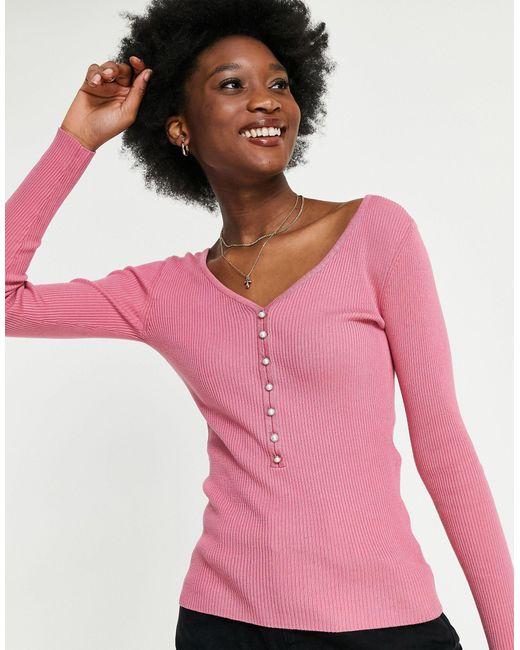Розовый Вязаный Топ На Пуговицах Спереди -розовый Цвет Morgan, цвет: Pink