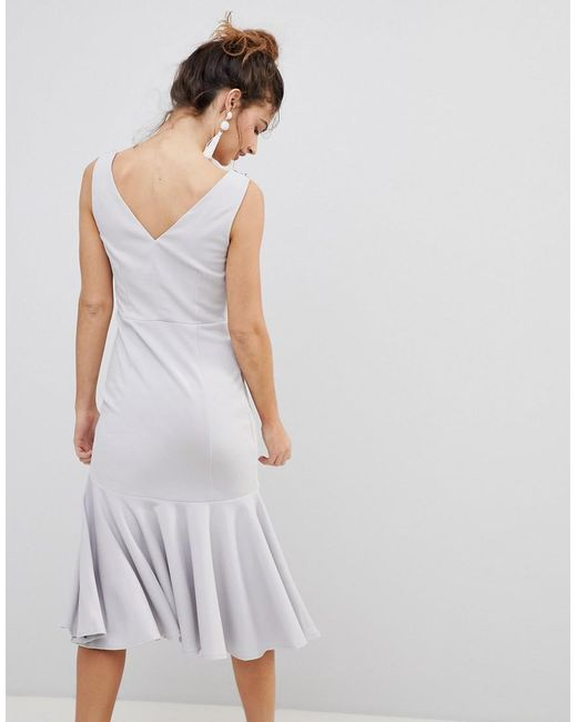Midi With Diamante And Pearl Embellished Neck - Grey Little Mistress nd2J58OWyi