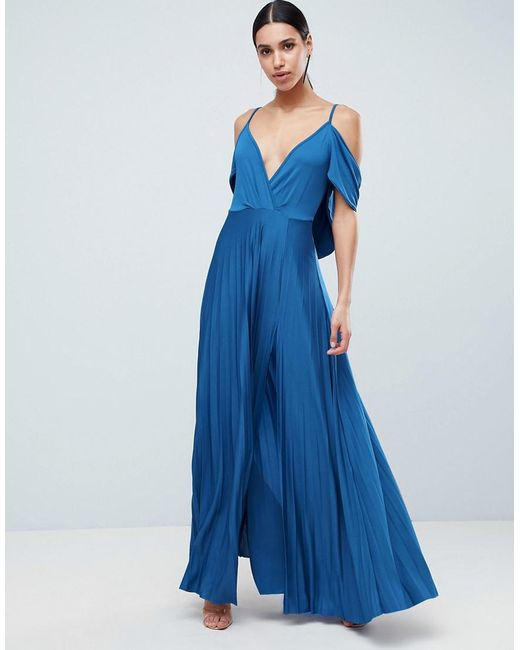 ASOS - Blue Cold Shoulder Cowl Back Pleated Maxi Dress - Lyst