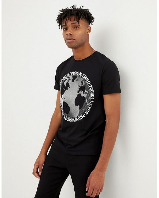 Jack & Jones - Black Core T-shirt With Rubberised Graphic for Men - Lyst