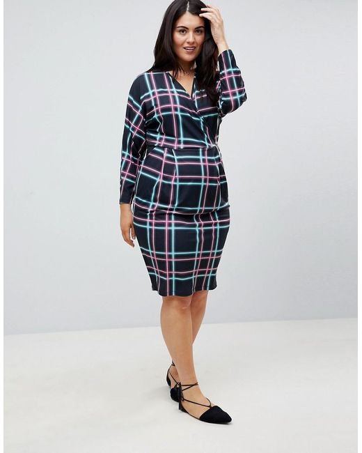 Wrap Midi Dress with Batwing Sleeve in Check Print - Multi Asos Curve Outlet 2018 Newest cZp9ZZVgn