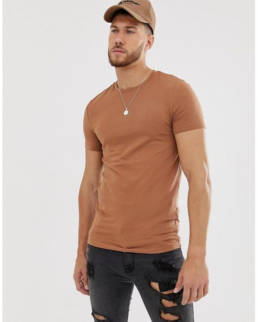689665e1787b ASOS - Organic Muscle Fit With Stretch T-shirt With Crew Neck In Brown for  ...