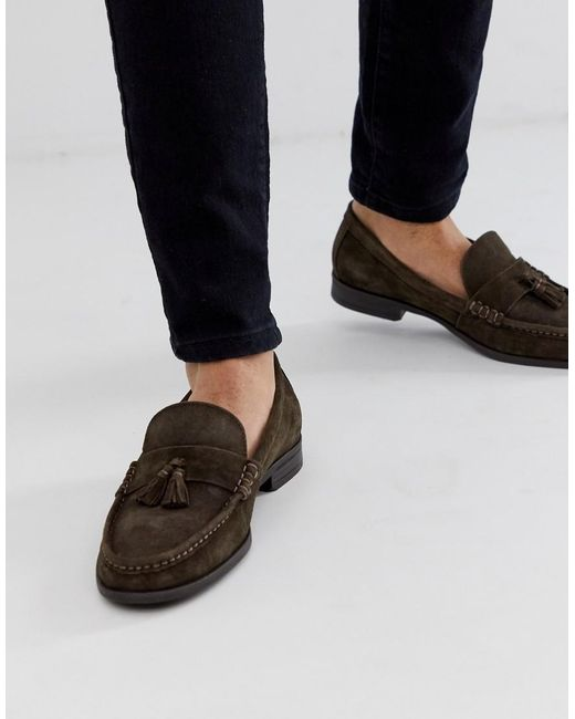 Ben Sherman Brown Suede Tassel Loafers for men