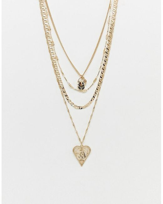 ASOS - Metallic Multirow Necklace With Vintage Style Heart Icon Pendant And Lucky Horseshoe In Gold - Lyst