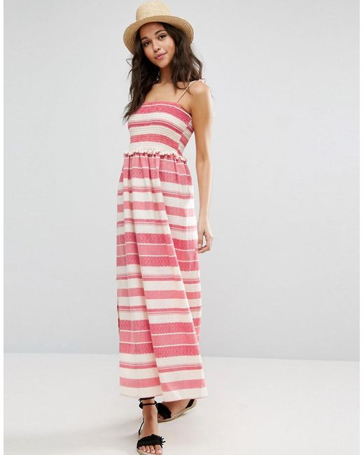 ASOS | Pink Shirred Maxi Dress With Pom Pom Detail | Lyst