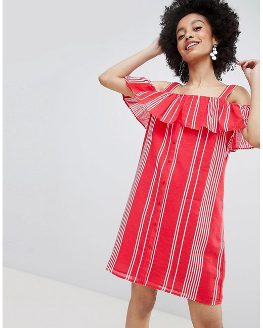ONLY - Red Stripe Cold Shoulder Button Through Dress - Lyst