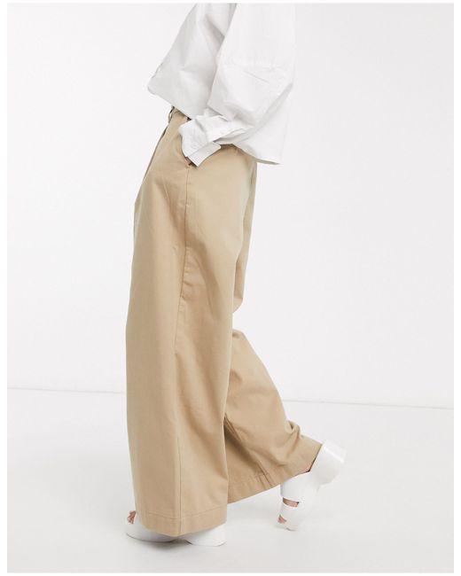 Weekday Tenley - Pantalon large plissé devant en coton biologique femme de coloris neutre xuj13