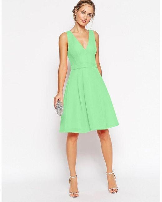 ASOS | Green Premium Mesh Folded Plunge Neck Debutante Dress | Lyst