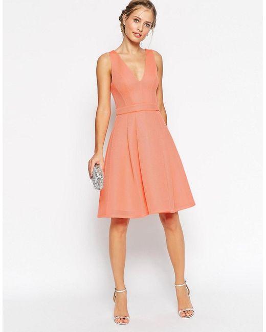 ASOS | Orange Premium Mesh Folded Plunge Neck Debutante Dress | Lyst