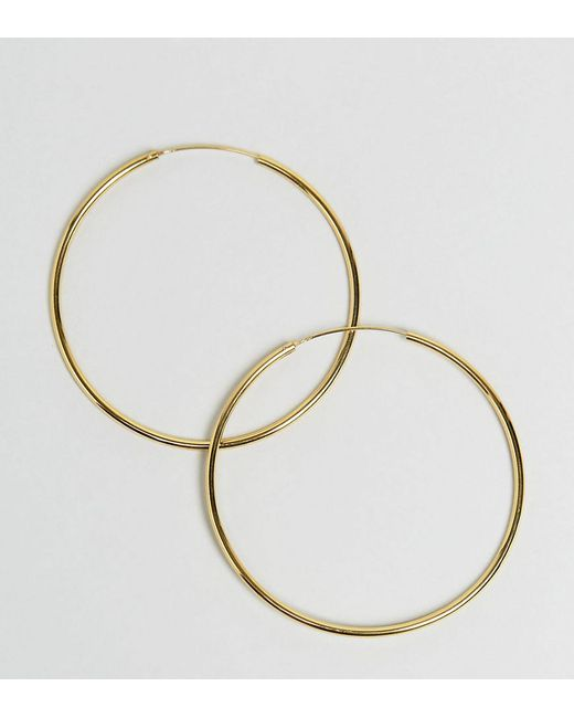 ASOS - Metallic Design Sterling Silver Gold Plated 60mm Hoop Earrings - Lyst