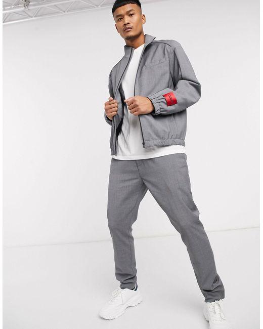 Серый Строгий Бомбер В Тонкую Полоску Uris2021 HUGO для него, цвет: Gray