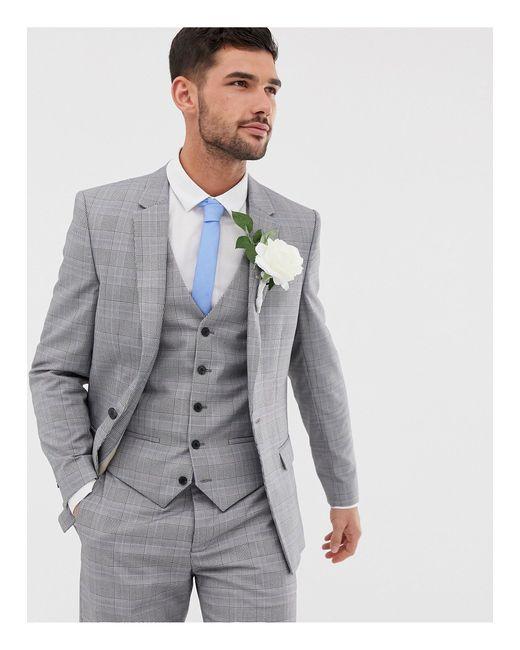 Серый Приталенный Пиджак В Клетку Wedding River Island для него, цвет: Gray