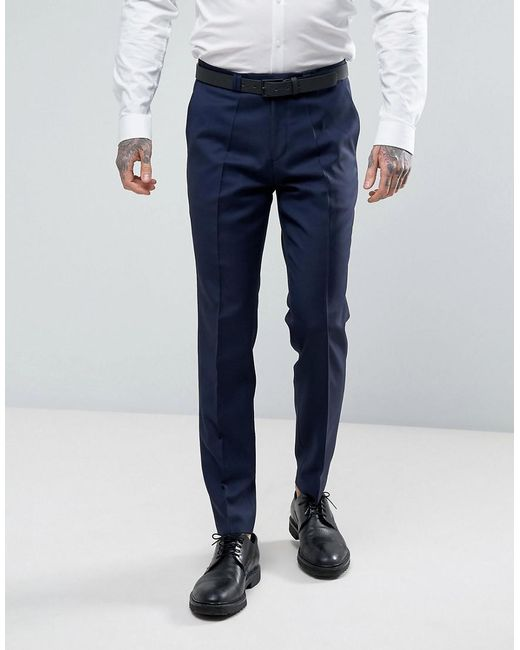 HUGO | Blue By Boss Hesten Extra Slim Fit Wool Twill Suit Pants for Men | Lyst