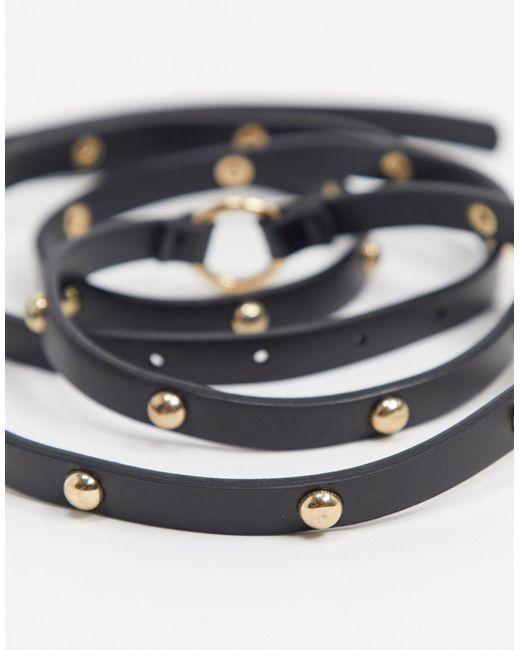 Черный Узкий Ремень ASOS, цвет: Black