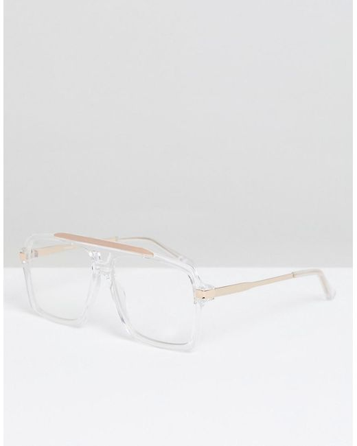 f2607652f4 ASOS - White Navigator In Clear Lens With Clear Frame for Men - Lyst ...
