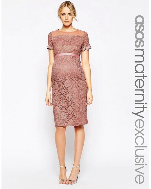 ASOS | Pink Maternity Bodycon Dress In Lace With Chiffon | Lyst