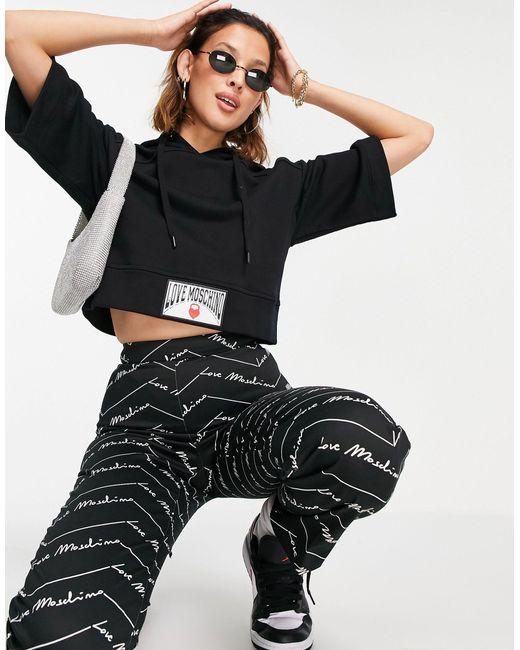 Черный Свитшот С Капюшоном И Короткими Рукавами Love Moschino, цвет: Black