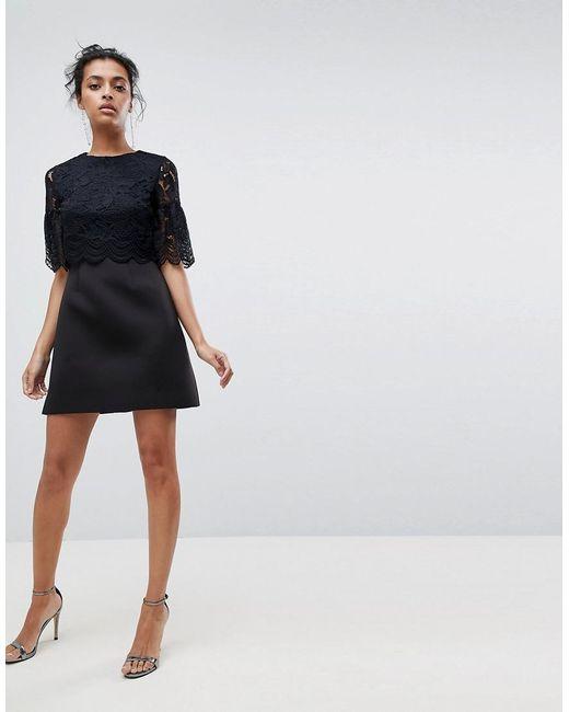 ASOS - Black Asos Lace Crop Top Scallop Mini Dress - Lyst
